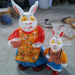 Tượng gia đình Thỏ, tượng Thỏ mẹ thỏ con